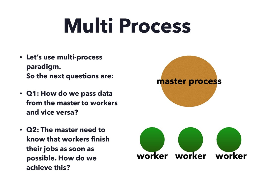 Multi Process • Let's use multi-process paradig...