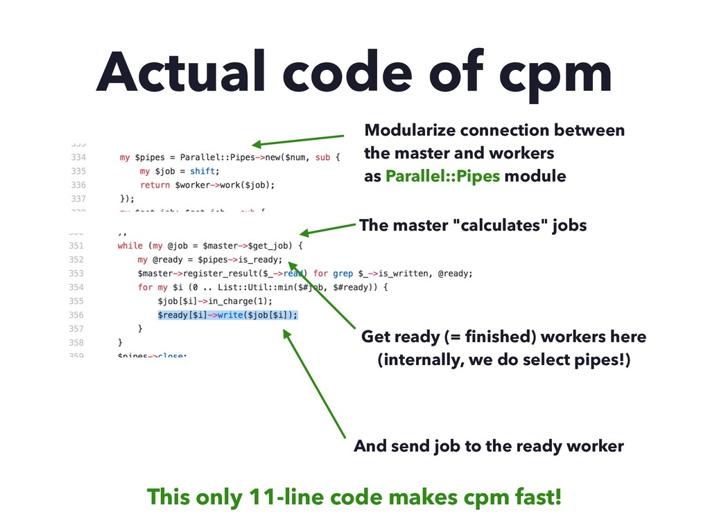 """Actual code of cpm The master """"calculates"""" jobs..."""