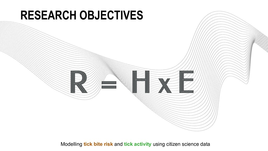 R = H x E RESEARCH OBJECTIVES Modelling tick bi...