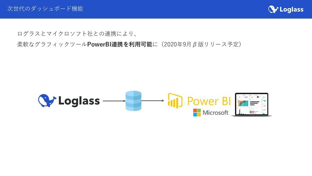 次世代のダッシュボード機能 ログラスとマイクロソフト社との連携により、 柔軟なグラフィックツー...