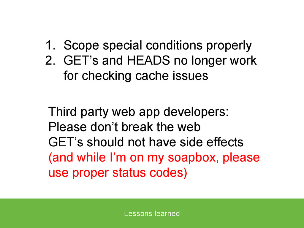 Lessons learned 1. Scope special conditions pro...