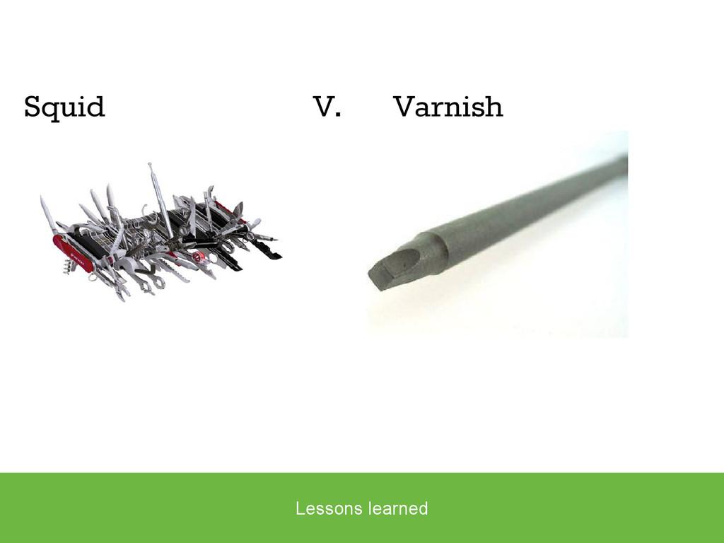 Squid V. Varnish Lessons learned