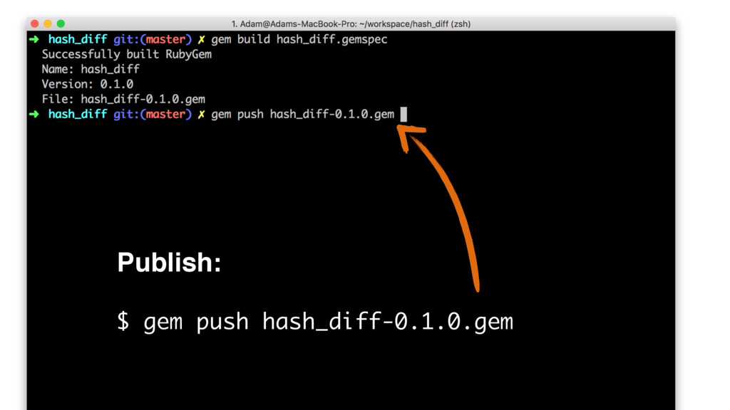 Publish: $ gem push hash_diff-0.1.0.gem