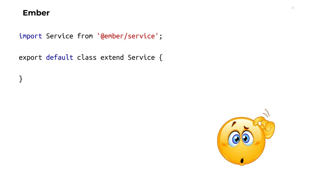 23 Ember import Service from '@ember/service'; ...
