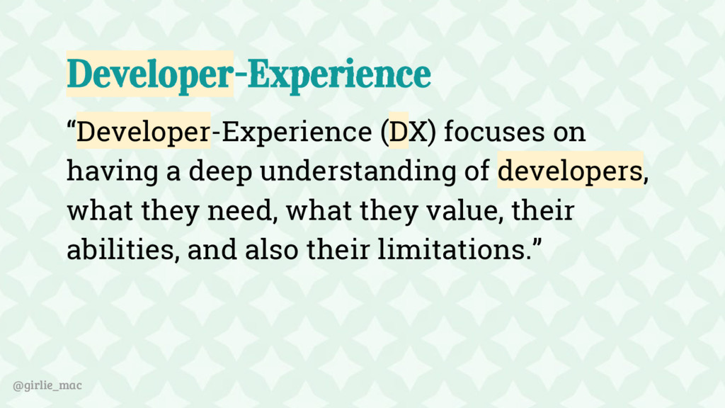 "@girlie_mac Developer-Experience ""Developer-Exp..."