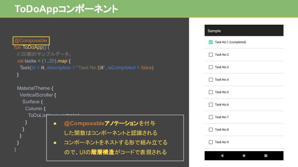 ToDoAppコンポーネント @Composable fun ToDoApp() { // 2...