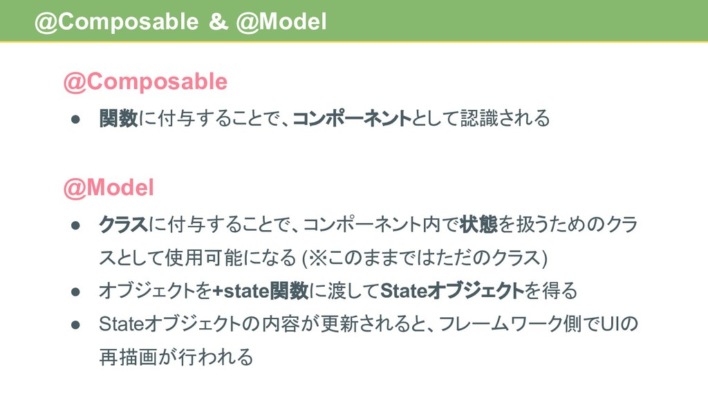 @Composable & @Model @Composable ● 関数に付与することで、コ...