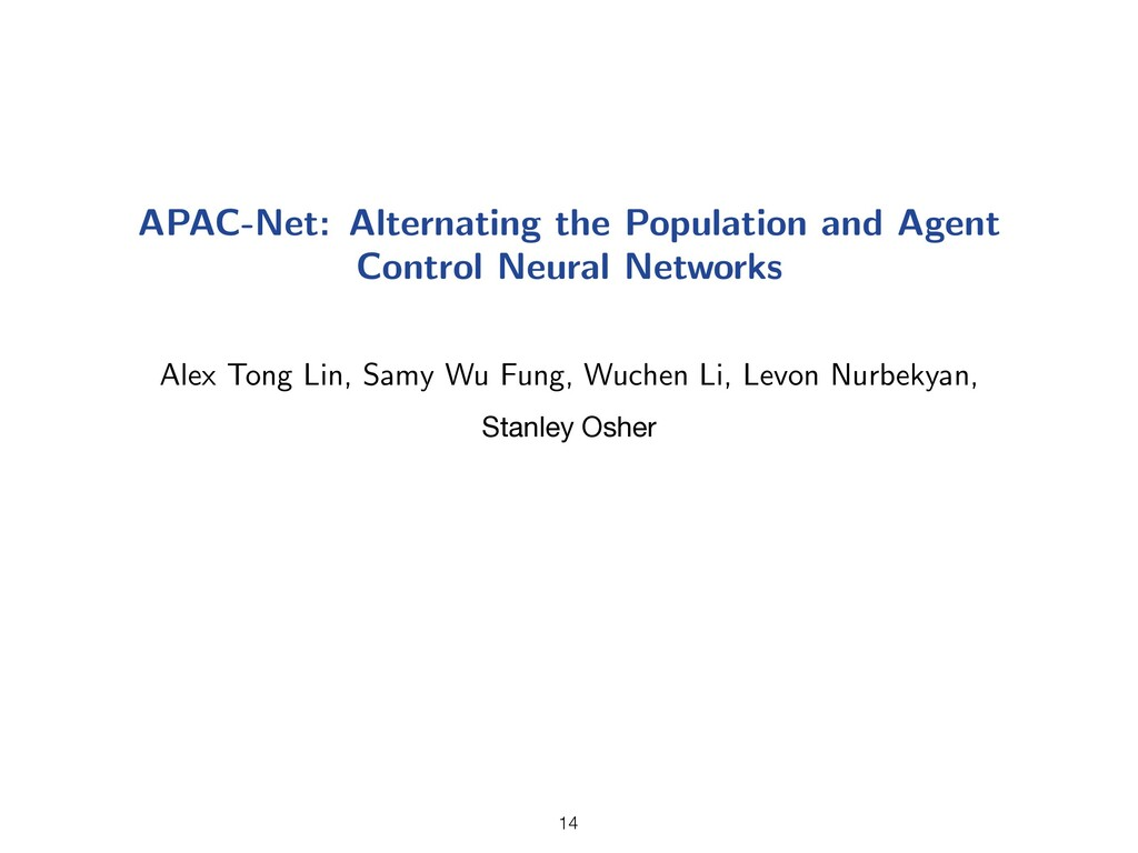 APAC-Net: Alternating the Population and Agent ...