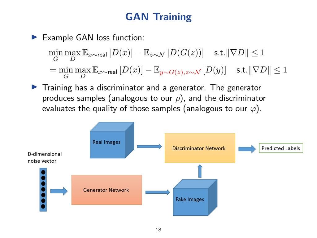 GAN Training I Example GAN loss function: min G...