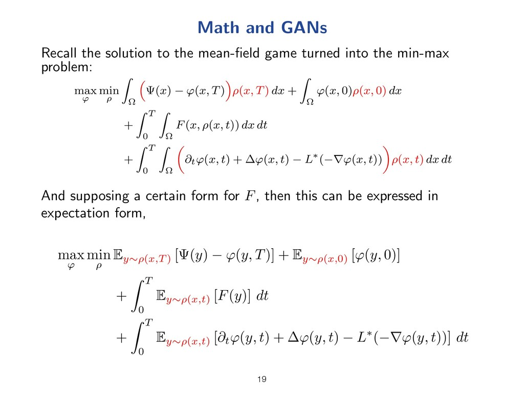 Math and GANs Recall the solution to the mean-fi...