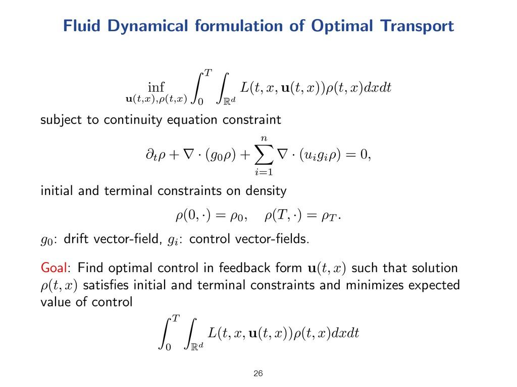 Fluid Dynamical formulation of Optimal Transpor...