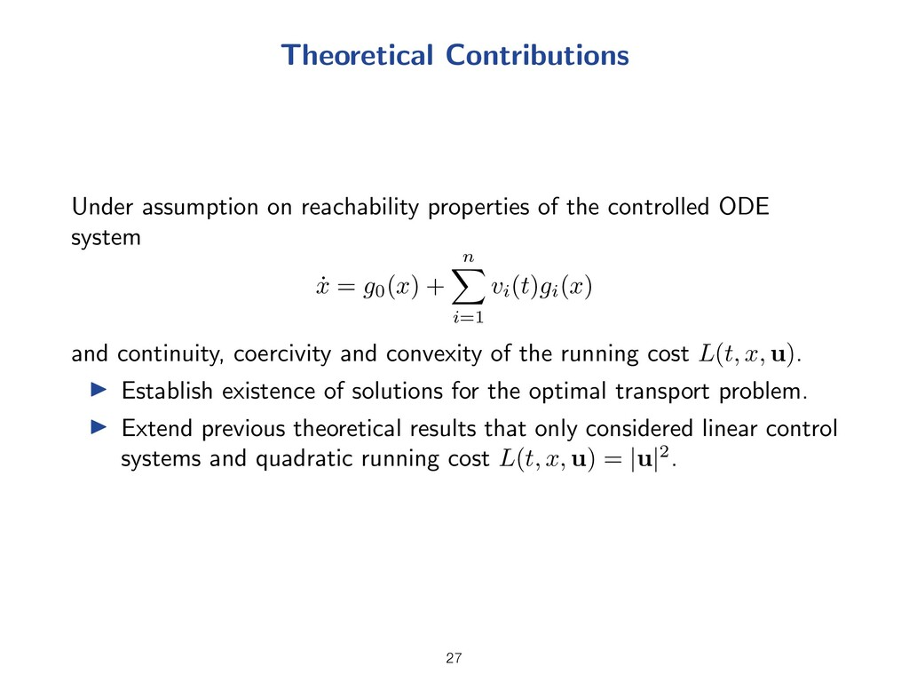 Theoretical Contributions Under assumption on r...