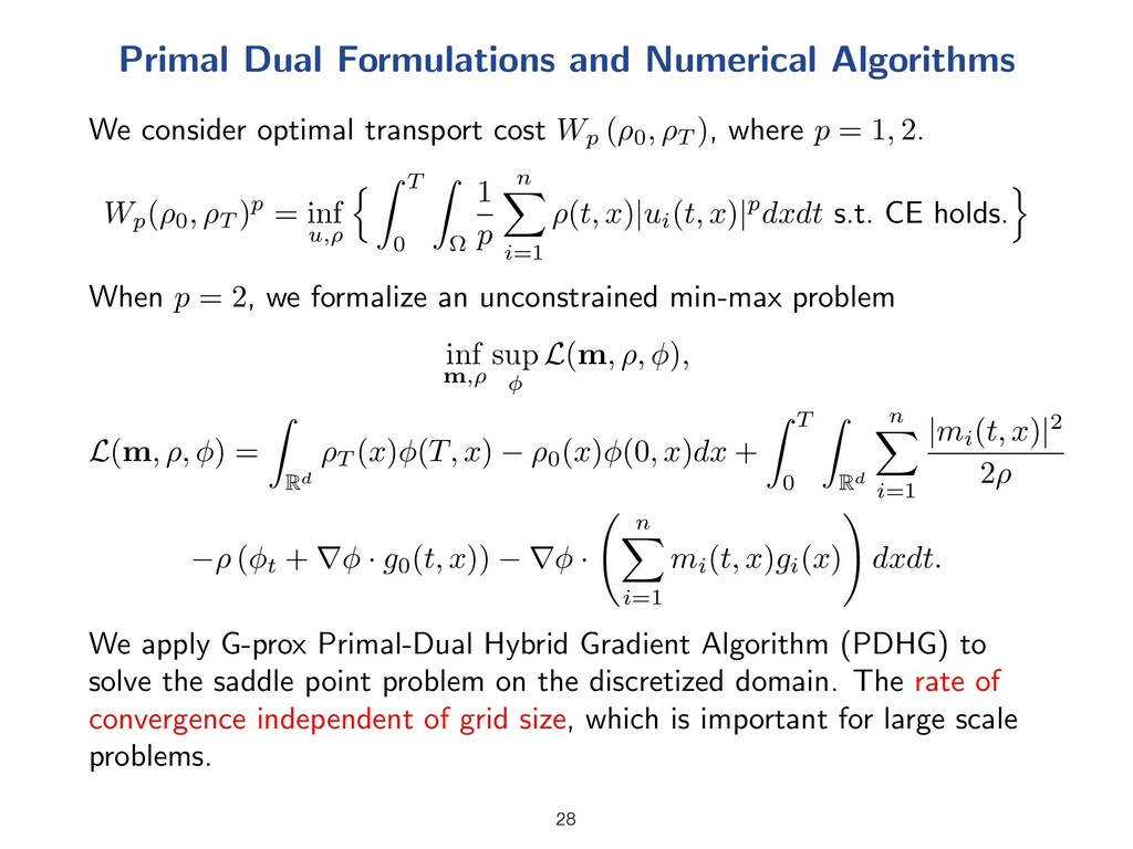 Primal Dual Formulations and Numerical Algorith...