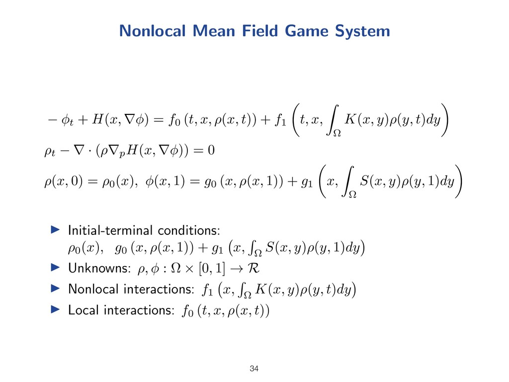 Nonlocal Mean Field Game System t + H(x, r ) = ...