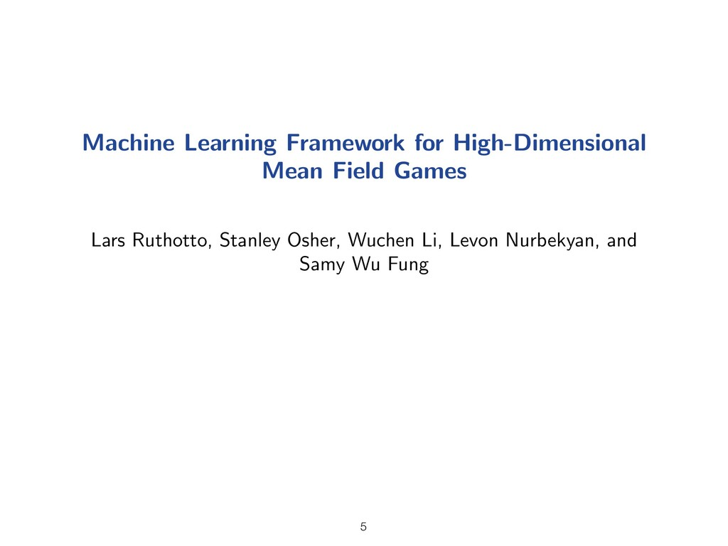 Machine Learning Framework for High-Dimensional...