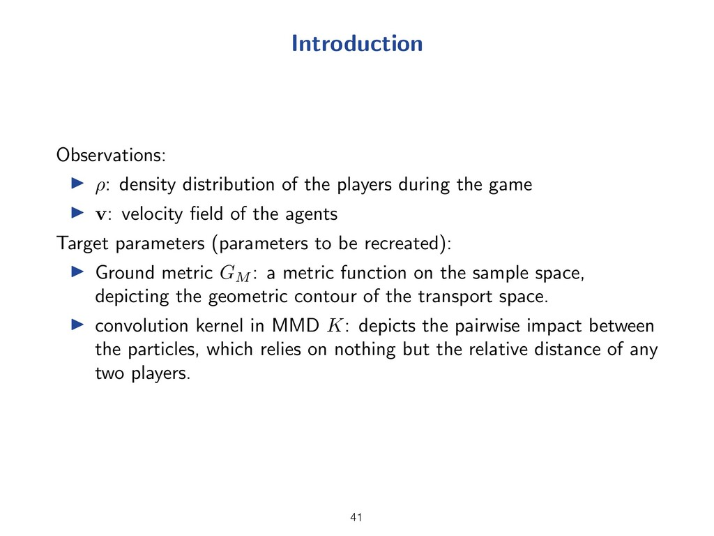 Introduction Observations: I ⇢: density distrib...