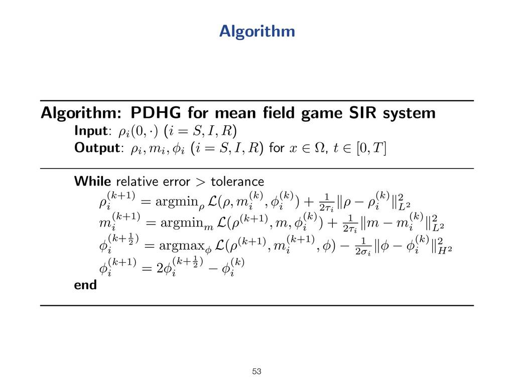 Algorithm Algorithm: PDHG for mean field game SI...
