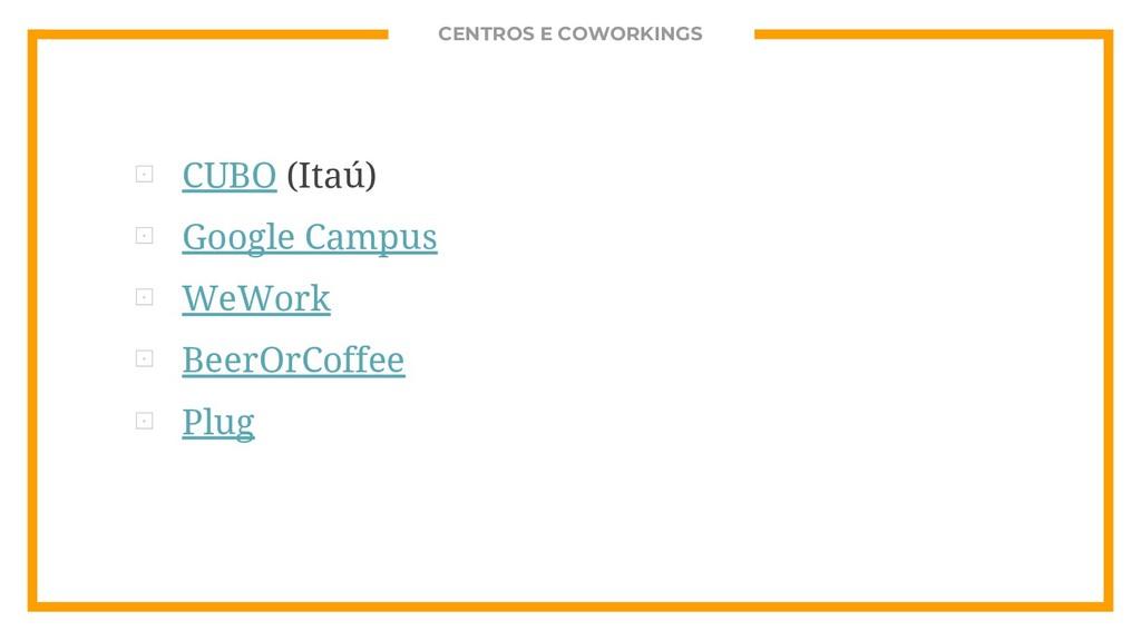 CENTROS E COWORKINGS ⊡ CUBO (Itaú) ⊡ Google Cam...