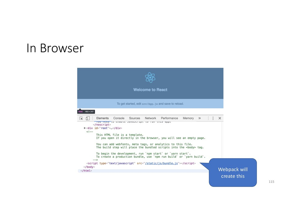In Browser Webpack will create this 115