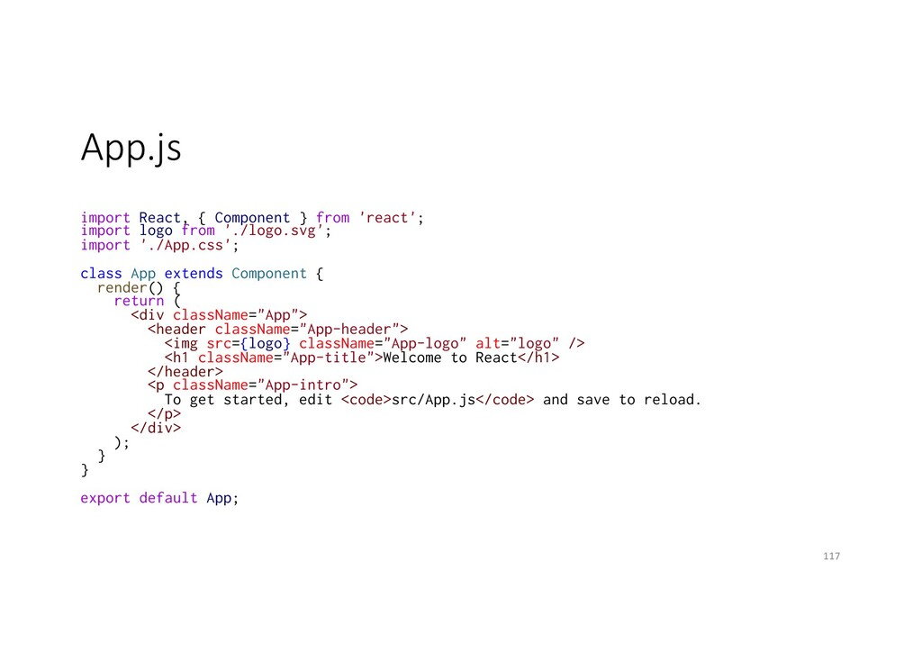 App.js import React, { Component } from 'react'...