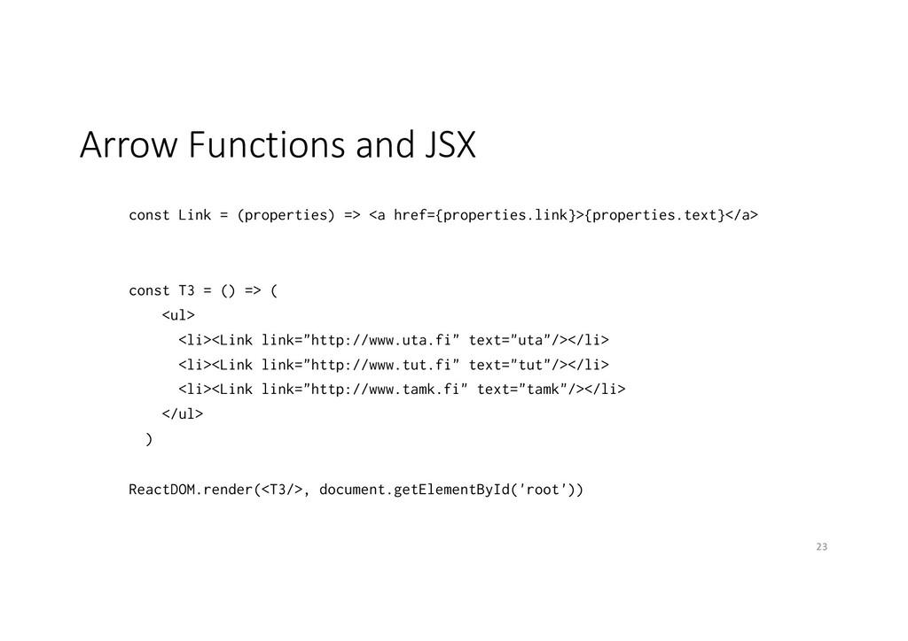 Arrow Functions and JSX const Link = (propertie...