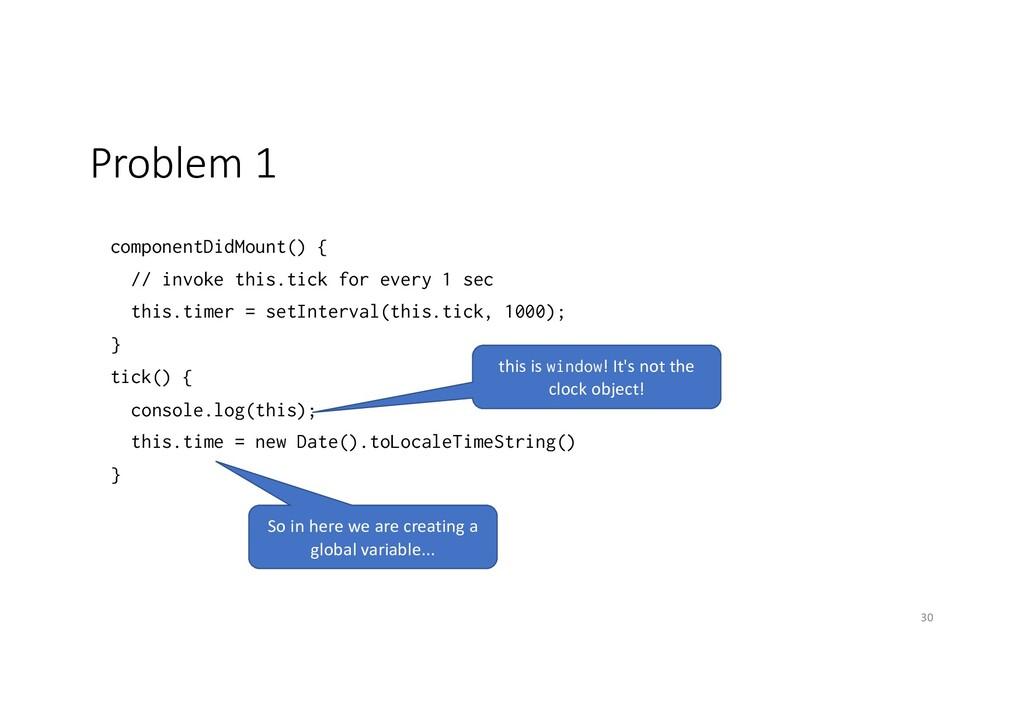 Problem 1 componentDidMount() { // invoke this....