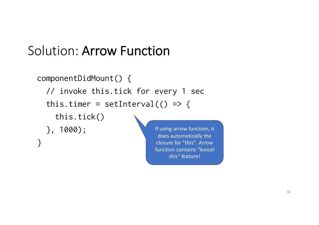 Solution: Arrow Function componentDidMount() { ...