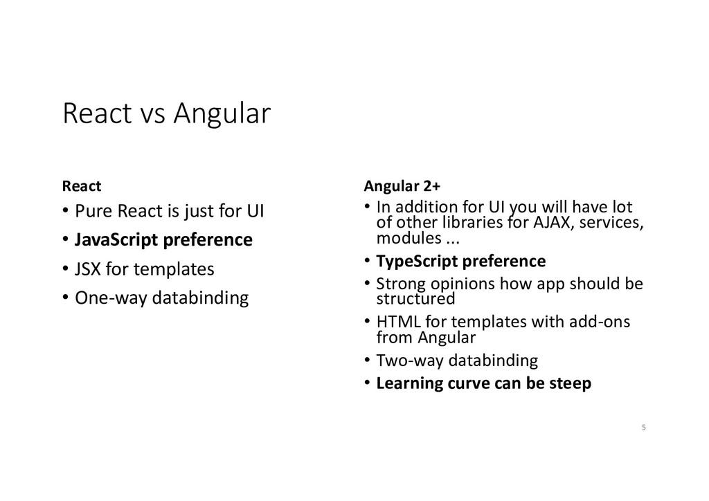 React vs Angular React • Pure React is just for...