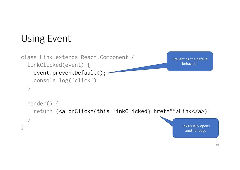Using Event class Link extends React.Component ...