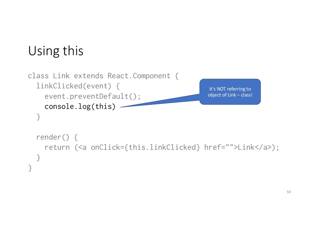 Using this class Link extends React.Component {...