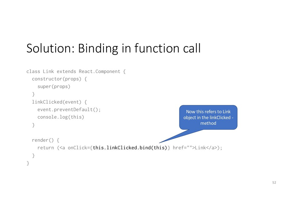 Solution: Binding in function call class Link e...