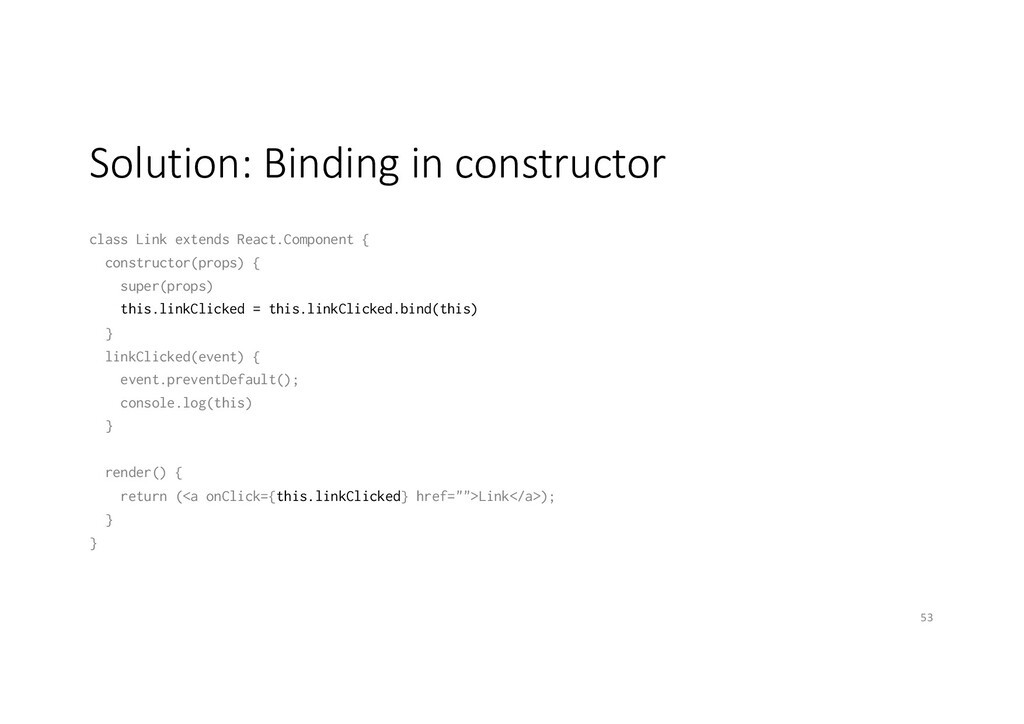 Solution: Binding in constructor class Link ext...