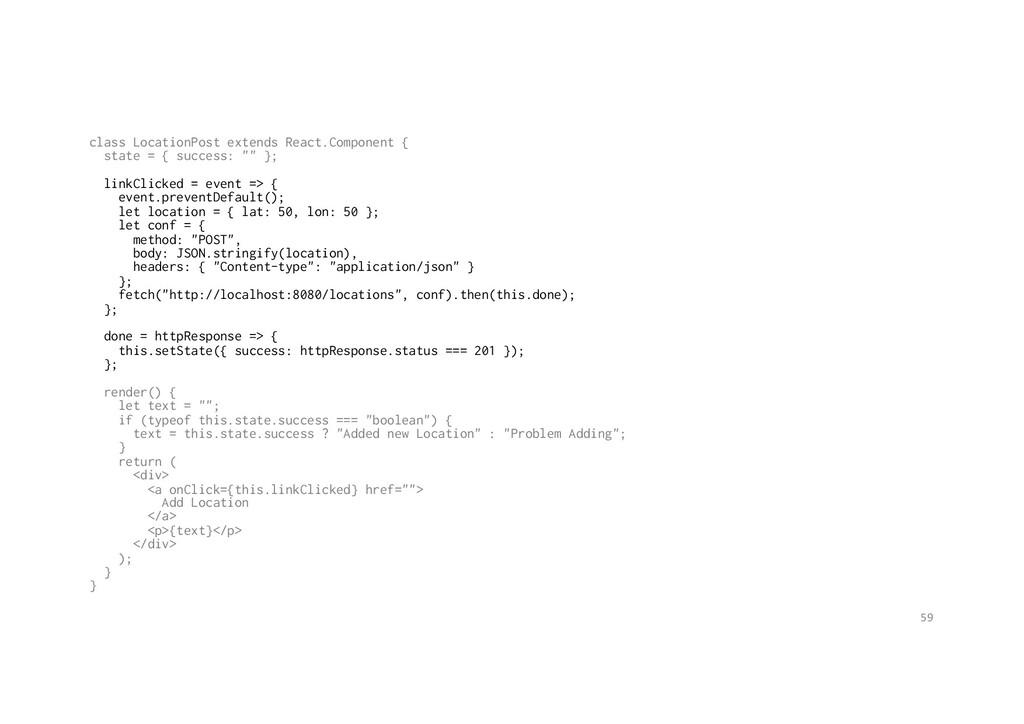 class LocationPost extends React.Component { st...