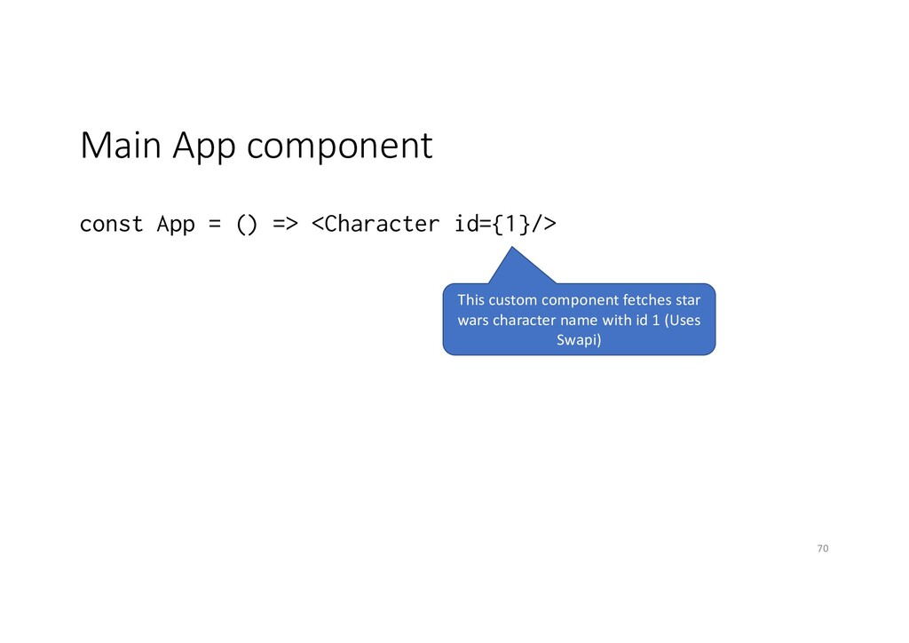 Main App component const App = () => <Character...