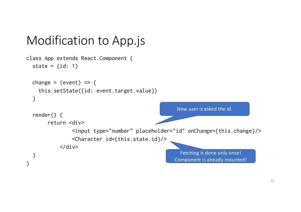 Modification to App.js class App extends React....