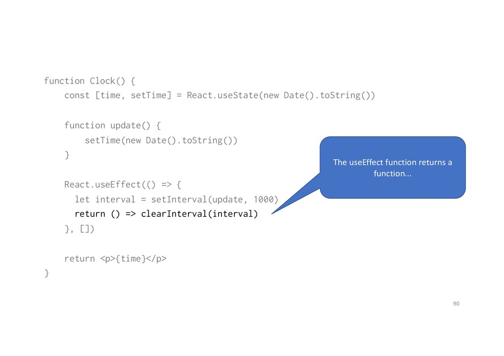 function Clock() { const [time, setTime] = Reac...