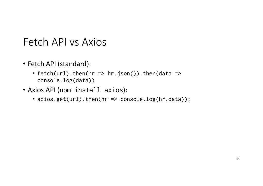 Fetch API vs Axios • Fetch API (standard): • fe...