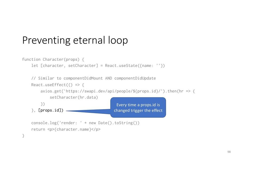 Preventing eternal loop function Character(prop...