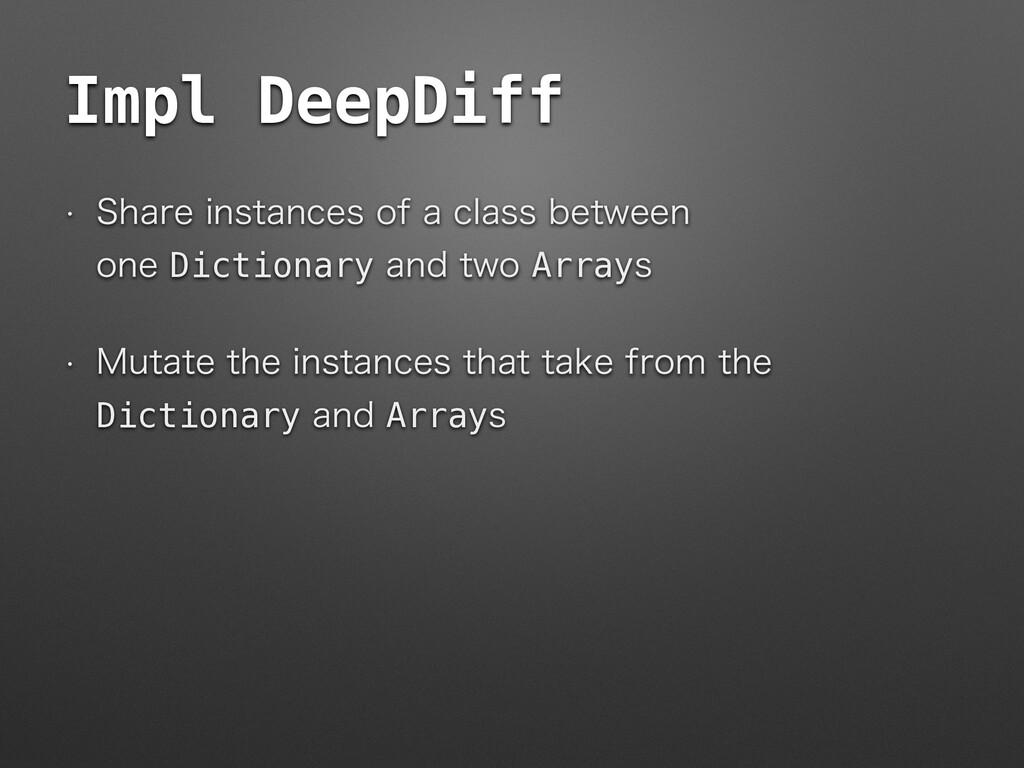 Impl DeepDiff w 4IBSFJOTUBODFTPGBDMBTTCFUX...