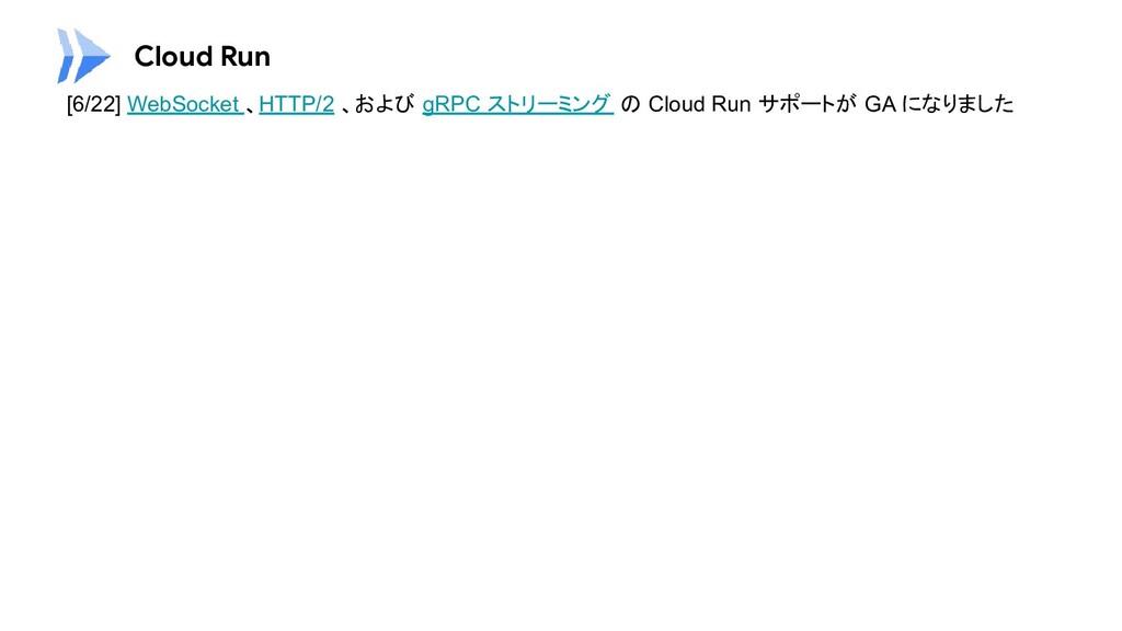 Cloud Run [6/22] WebSocket 、HTTP/2 、および gRPC スト...