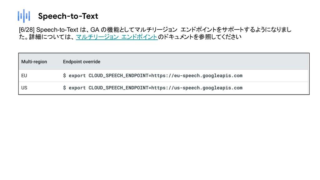Speech-to-Text [6/28] Speech-to-Text は、GA の機能とし...