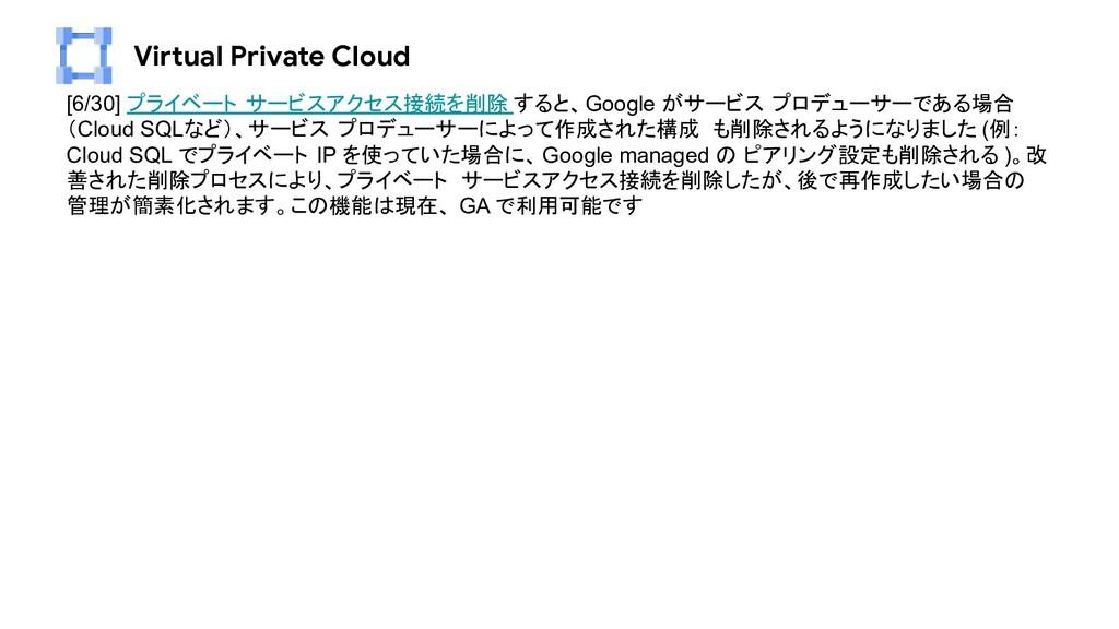 Virtual Private Cloud [6/30] プライベート サービスアクセス接続を...