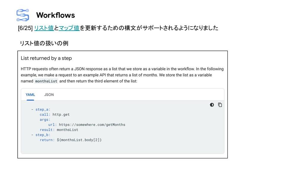 Workflows [6/25] リスト値とマップ値を更新するための構文がサポートされるように...