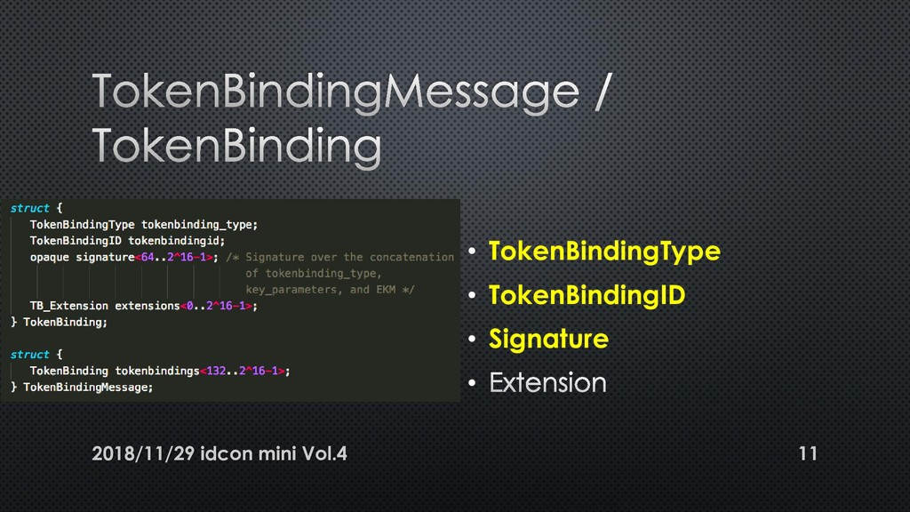 • TokenBindingType • TokenBindingID • Signature...