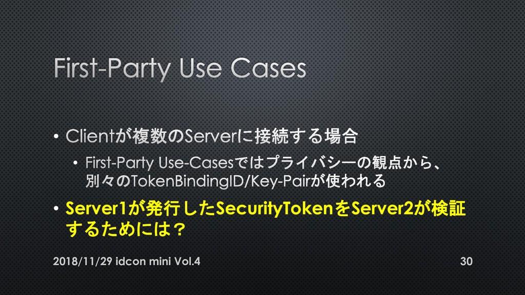 • • • Server1が発行したSecurityTokenをServer2が検証 するため...