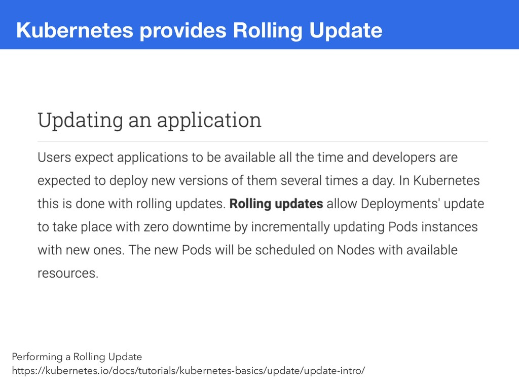 Kubernetes provides Rolling Update Performing a...