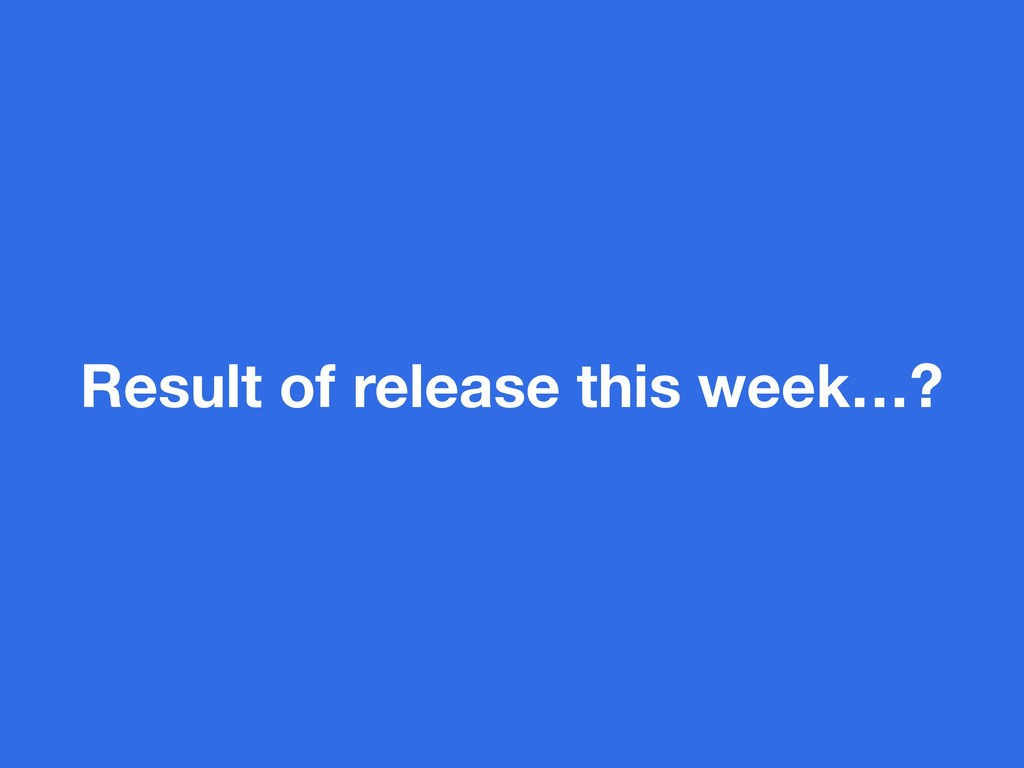 Result of release this week…?