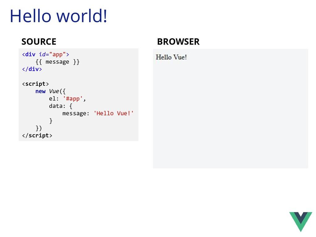 "Hello world! <div id=""app""> {{ message }} </div..."