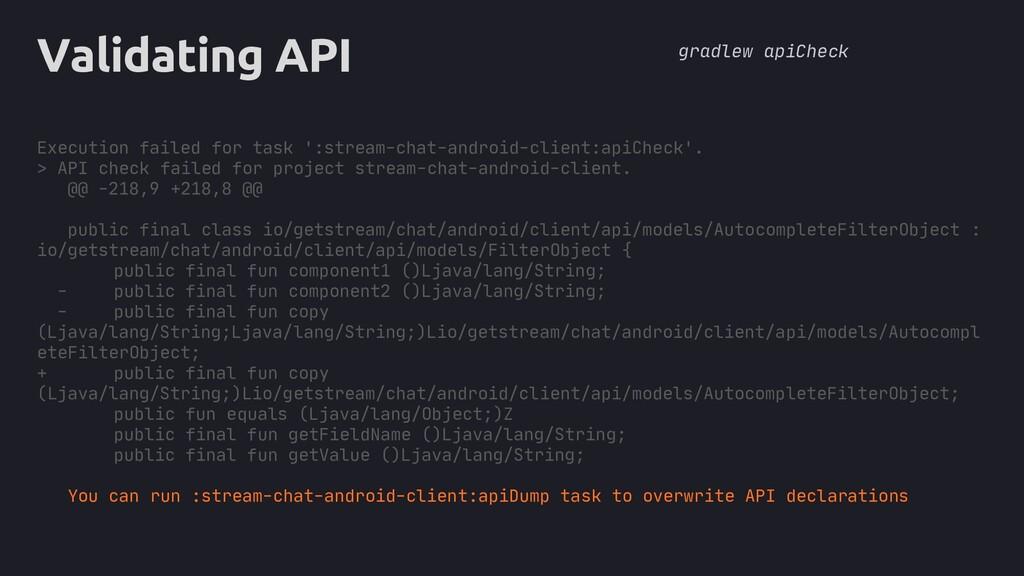 core Validating API Execution failed for task '...