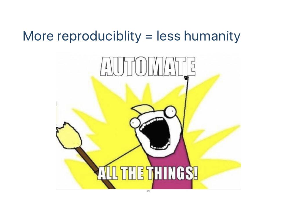 More reproduciblity = less humanity